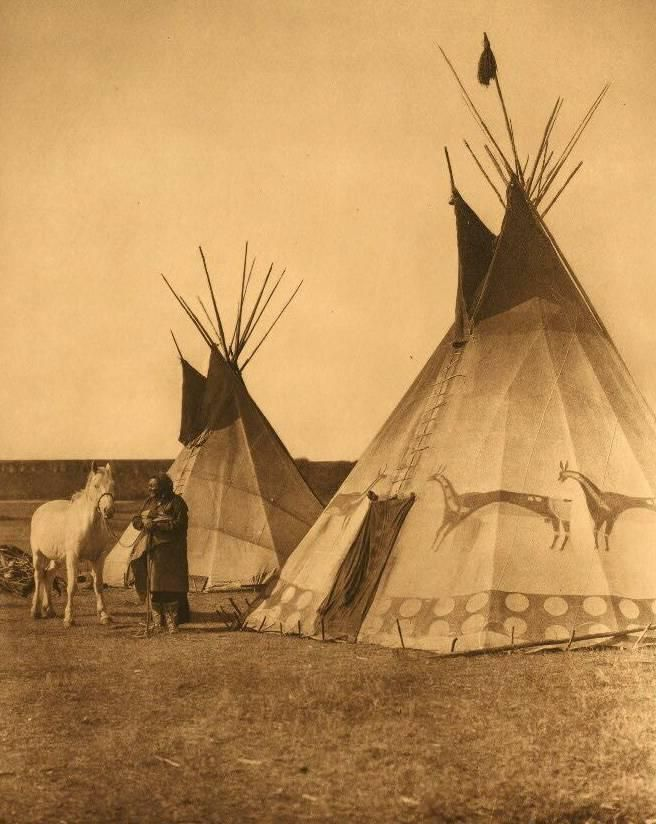 vitnage native american in front of teepee with horse