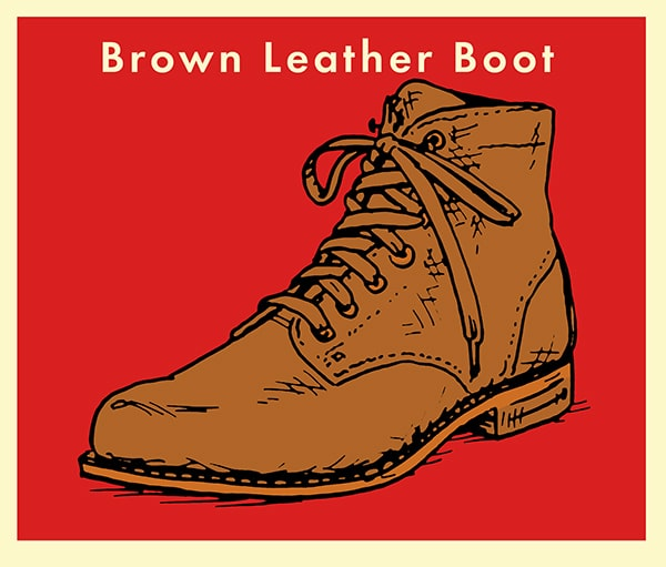 Brown Leather Boot illustration.