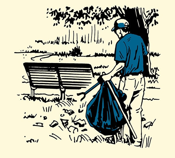 man cleaning up voluteering at park illustration
