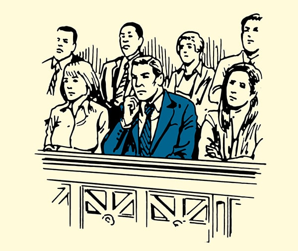 businessman man in suit sitting in jury box illustration