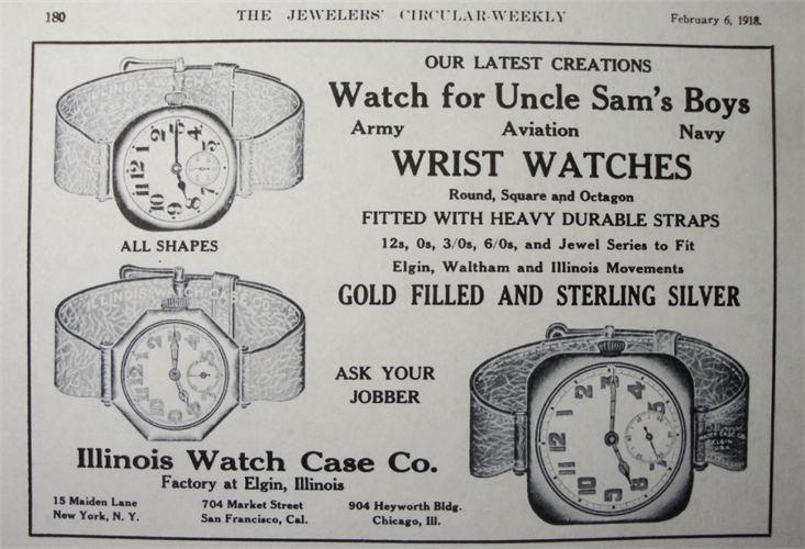 vintage watch wristwatch ad advertisement illinois watch case co