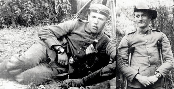 vintage soldiers wearing pocket watch wristlet