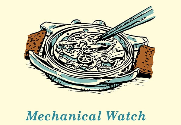 Watch Mechanical illustration.