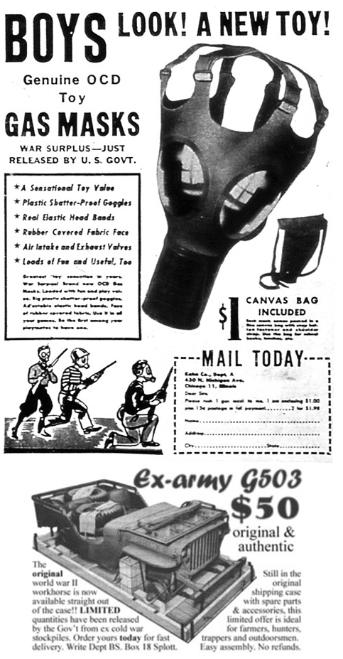 vintage army navy surplus ad advertisement kids gas mask