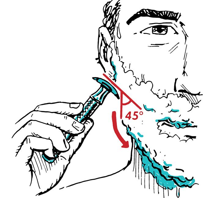 Man shaving with safety razor holding razor 45 degrees to face