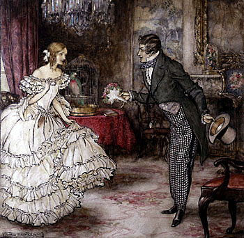 19th century gentleman giving a bouquet of flowers