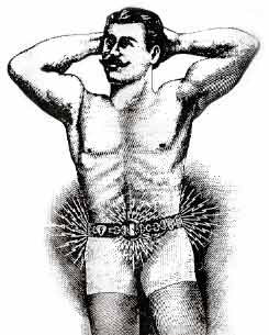 Vintage man wearing belt and giving pose of muscles illustration.