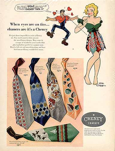 Cheney ties advertisement illustration.