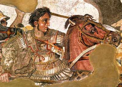 Alexander the great battle riding a horse.