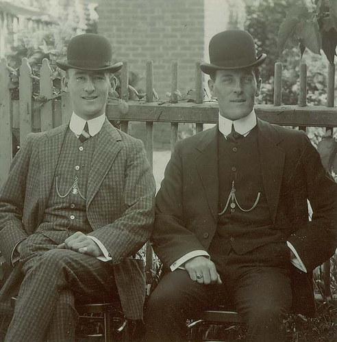 vintage bowler hats on two gentlemen