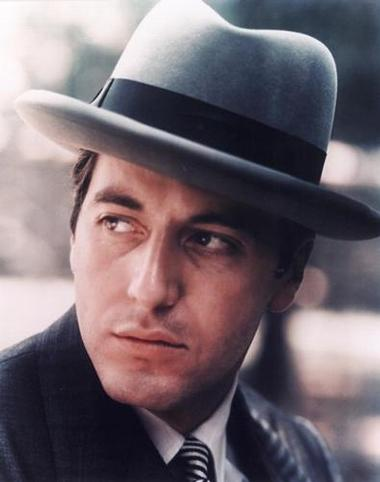 Al Pacino wearing homburg hat in the godfather.