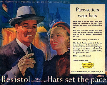 Man wearing resistol vintage hat smiling with girl.