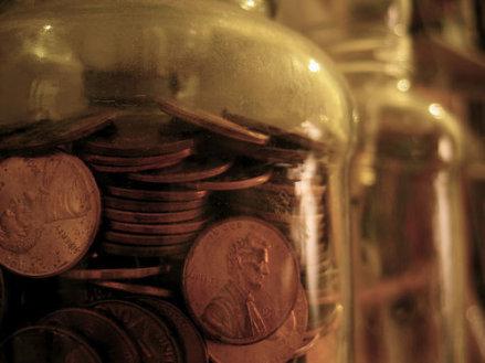 Pennies in old jar.