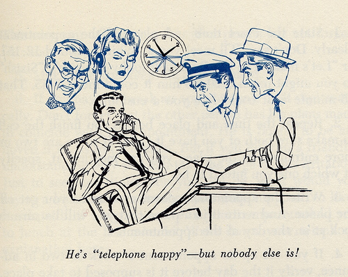 Vintage man on telephone relaxing legs on table illustration.