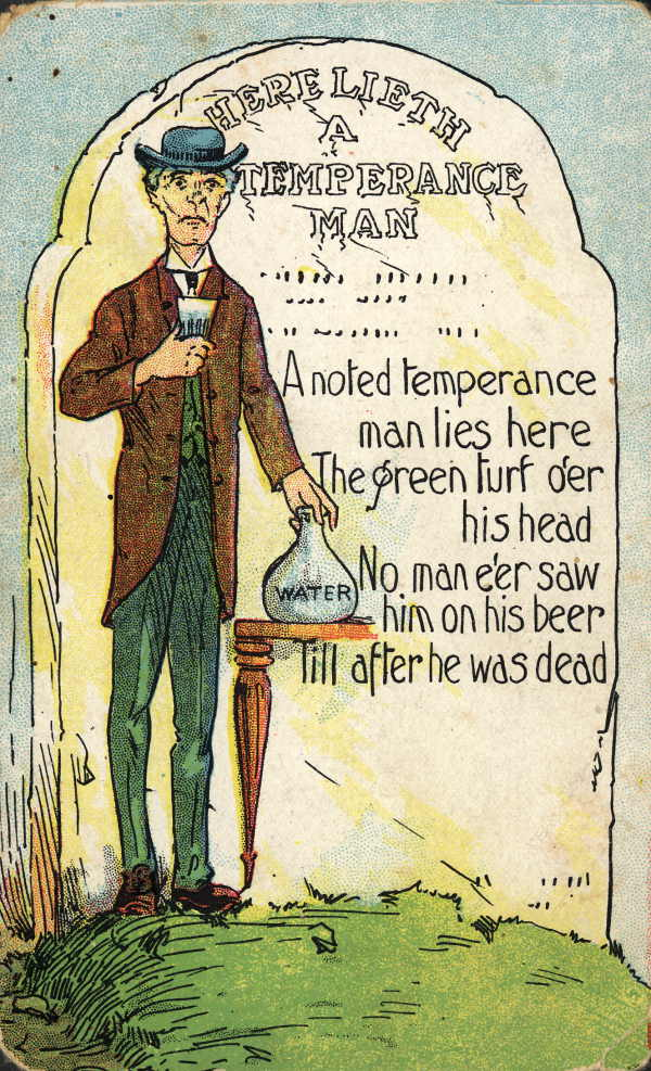 Vintage temperance cartoon glass of water in glass.