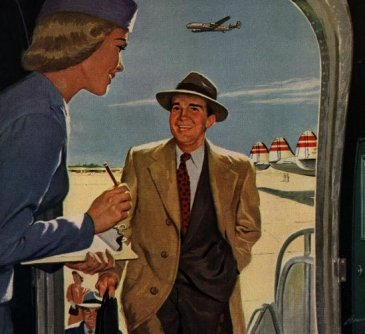 Vintage airline illustration man getting on airplace and hostess holding a pen and clip board.