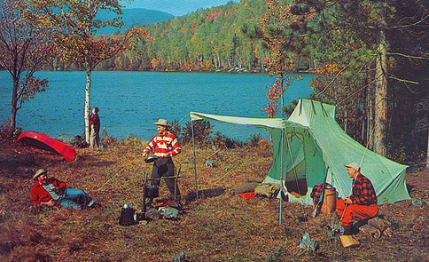 Vintage camping by a lake.