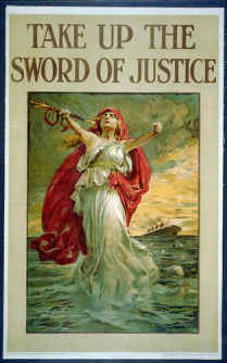 world war I propaganda poster - sword of justice