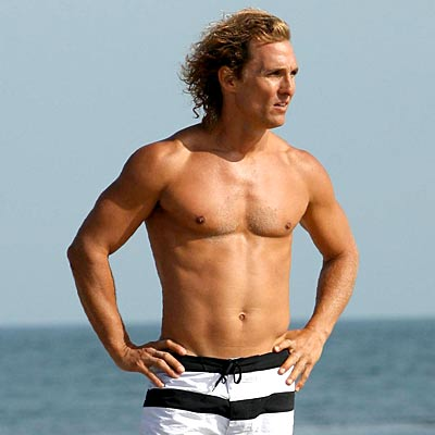 Matthew McConaughey shirtless on beach