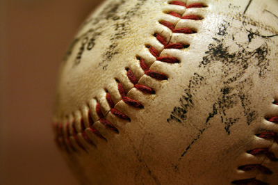 scuffed baseball up close