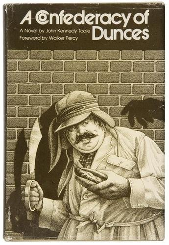 On a book cover A Confederacy of Dunces by John Kennedy Toole holding a burger and a knife in hands.