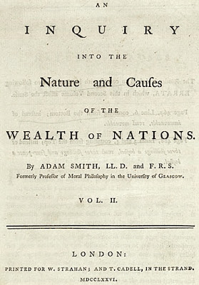The wealth of Nations by Adam Smith, book cover.
