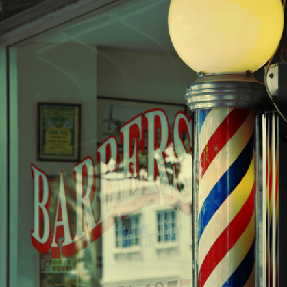 A pole stand beside of barber shop.