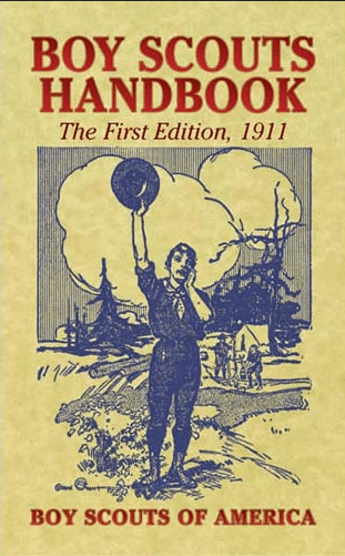 Cover of the first edition of the The Boy Scout Handbook.