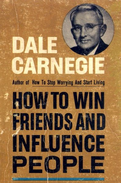 Book cover of how to win friends and influence people by Dale Carnegie.