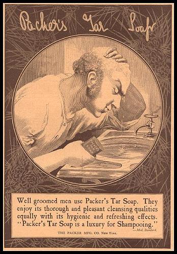 Vintage tar soap advertisement illustration.