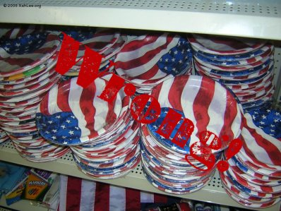 Plates design with american flag color.