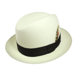 White straw with black band hat.