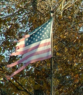 A tattered american flag.
