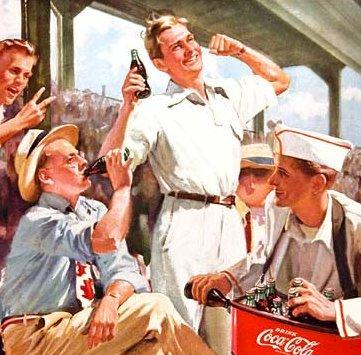 Men enjoying coca cola part illustration.