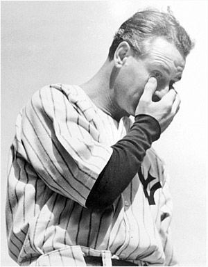 Lou Gehrig crying portrait.