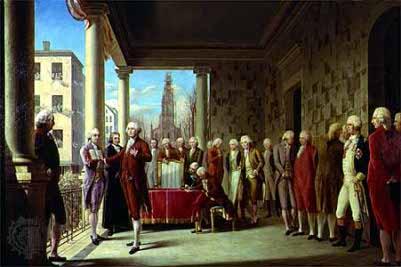 People attending the george washington inauguration illustration.