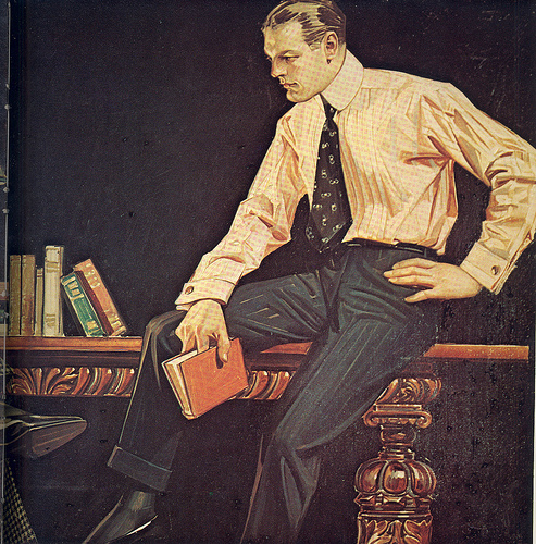 vintage illustration 1940s man in office with books