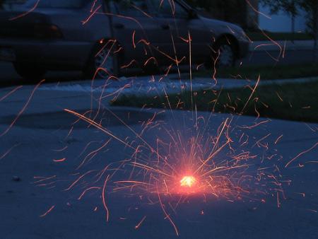 ground spinner fireworks driveway
