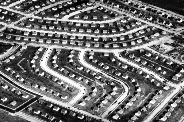 vintage aerial photo of suburb development levittown ny