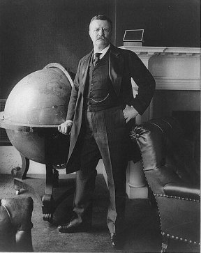 theodore roosvelt portrait full body next to giant globe