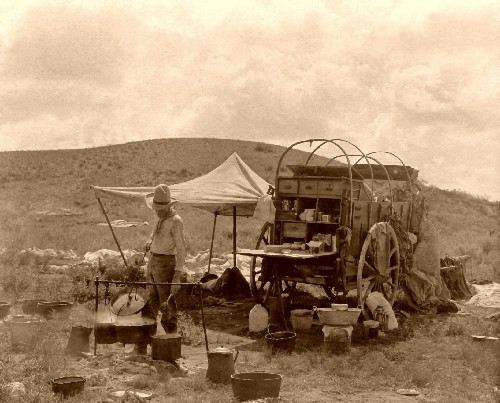vintage cowboy cooking camp late 1800s wagon