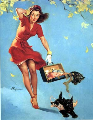 Gil Elvgren pin up girls posters drooped the cloths.