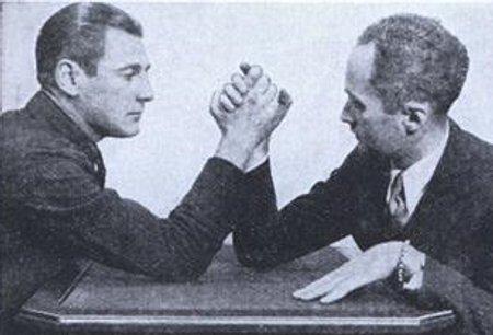 Vintage arm wrestling match.