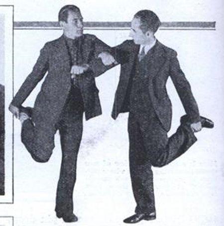 Vintage one legged elbow wrestling.