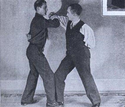 Vintage elbow wrestling match.