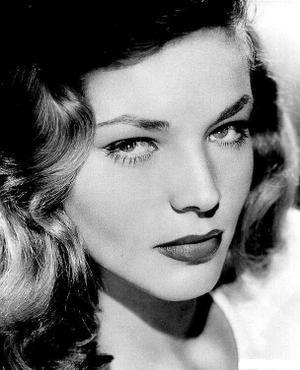 Lauren Bacall sultry shot in serious look.