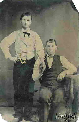 Potrait of vintage male friends holding hands late 1800s.