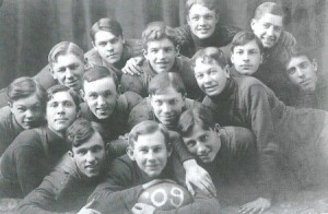 Vintage boys football team portrait.