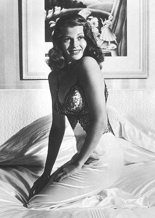 Rita Hayworth life pin up girl in a silk.