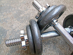 dumbbell hand weights close up photo